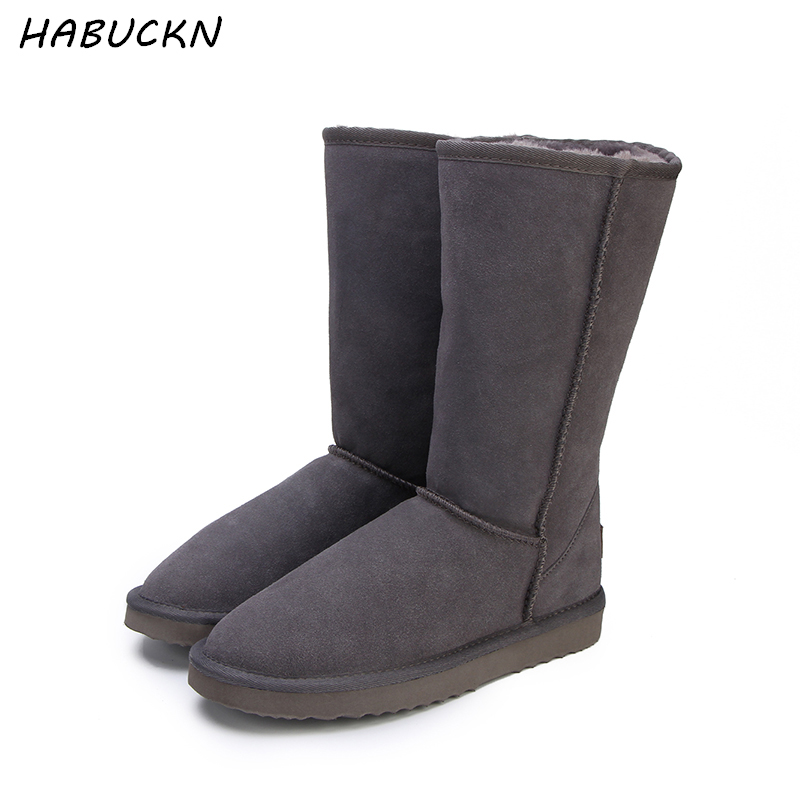 HABUCKN haute neige bottes pour femmes chaussures d'hiver en peau de mouton en cuir de fourrure doublé big filles laine grand cuisse bottes d'hiver noir