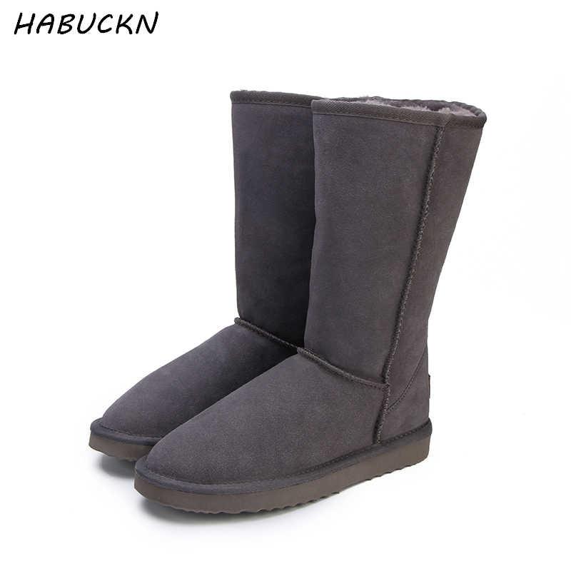 HABUCKN khởi động tuyết cao cho phụ nữ mùa đông giày da cừu da lông lót lớn cô gái cao len đùi khởi động mùa đông màu đen