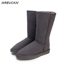 HABUCKN high snow boots for women winter shoes sheepskin leather fur lined big girls tall wool thigh winter boots black(China)