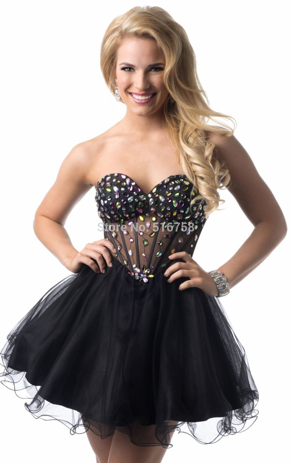 New Custom Made Sweetheart Sheer Top Black Homecoming Dress Tulle ...