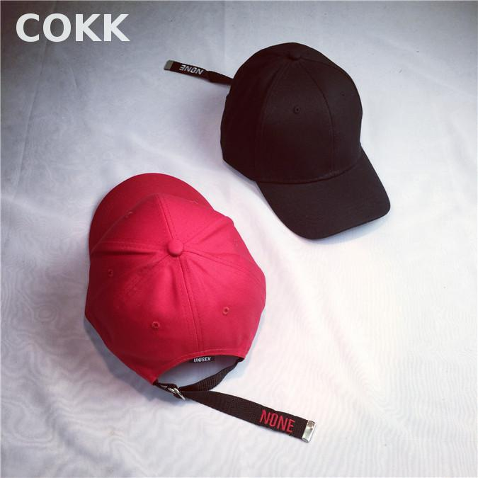 Prix pour COKK Punk Rouge Noir Casquette de baseball Réglable Hommes Femmes Casquette Snapback Casquettes Touca Os Aba Reta Designer Cap