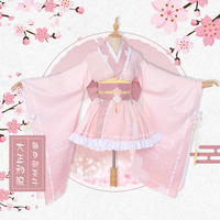 Anime! My Hero Academia Ochaco Uraraka Pink Lovely Sakura Dazheng Kimono Dress Uniform Cosplay Costume Free Shipping