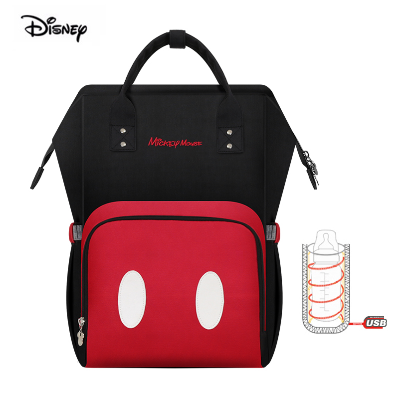 Disney USB Mommy bag mickey waterproof large capacity mother bag nappies babies thermal insulation maternity diaper