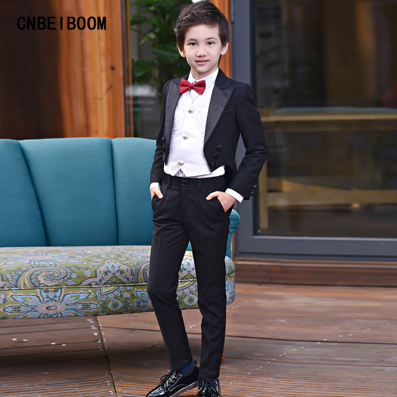 Black tuxedos Formal Dress Children Suit wedding party suits baby prom (jacket+Pants+vest+tie+shirt) clothing set kids 2-12 year sweet puff sleeve blouse printed organza skirt twinset for women
