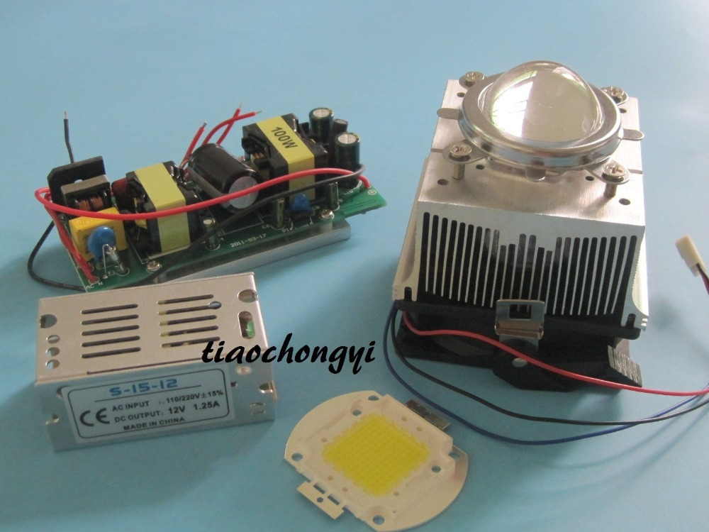 100w led chip +100W led driver+cooling heatsink+ Lens with Reflector Collimator 100