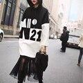2016 Novos Chegada Mulheres Moda Hoodies Hit a Cor da Costura Remendo Malha Com Capuz Casaco Com Capuz Camisola Bordada Outono Hoodies Longos