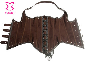 Brown Faux Leather Corset Underbust Waist Slimming Corsets Steel Boned Steampunk Bustier Corpetes E Espartilhos Gothic Clothing