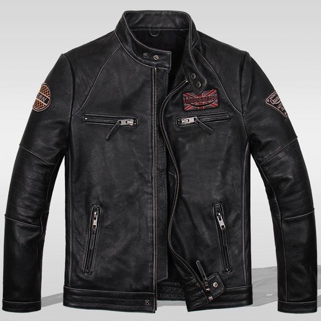 Урожай подлинной натуральной кожи одежда мужской стоять воротник тонкий верхняя одежда для harley мотоциклов байкер куртки