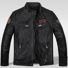 Jinete de la motocicleta chaqueta de cuero, vintage para hombre de la chaqueta de cuero genuino, abrigo de cuero delgado