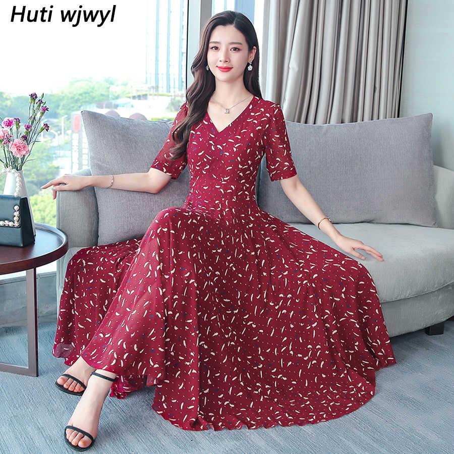 2019 шифоновые пляжные миди платья с принтом летние винтажные 4XL плюс размер Boho красные Макси сарафаны элегантные женские облегающие вечерние платья