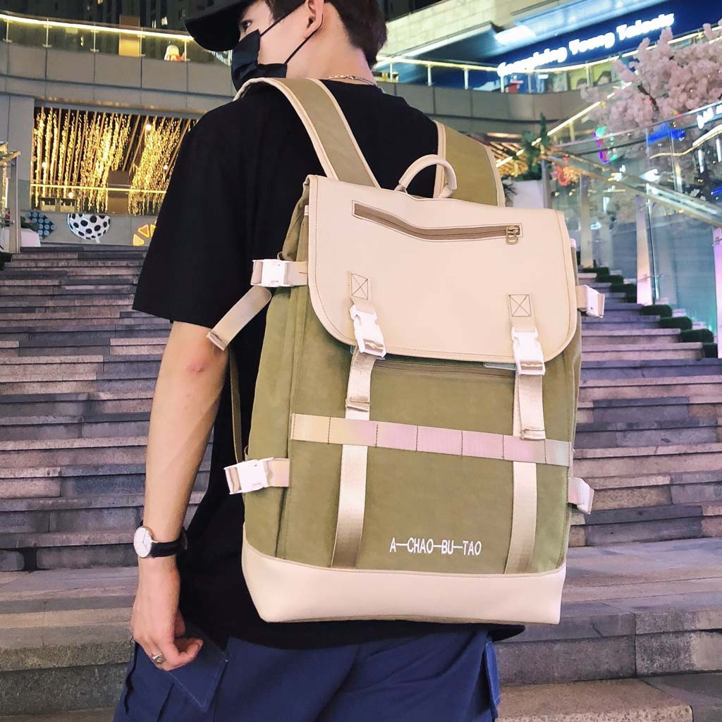 MUQGEW Men's Backpack Zipper NEW Student Book Stationary Luggage Buckle Folding Shoulder Brother Patch Travel Commuting Bag Pack