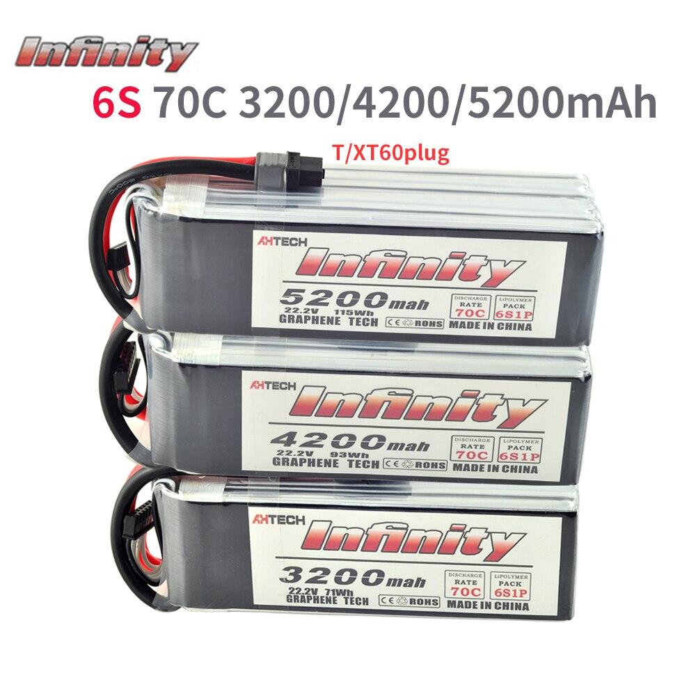 Infinity 6 S LiPo Batterij 70C 3200 mAh 4200 mAh 5200 mAh 22.2 V Met T of XT60 Plug Connector RC Lipo Batterij-in Onderdelen & accessoires van Speelgoed & Hobbies op  Groep 1