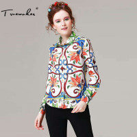 Truevoker Designer Blouses Women S High Quality Long Sleeve Turn Down Collar Multicolor Majolica Printed Vintage