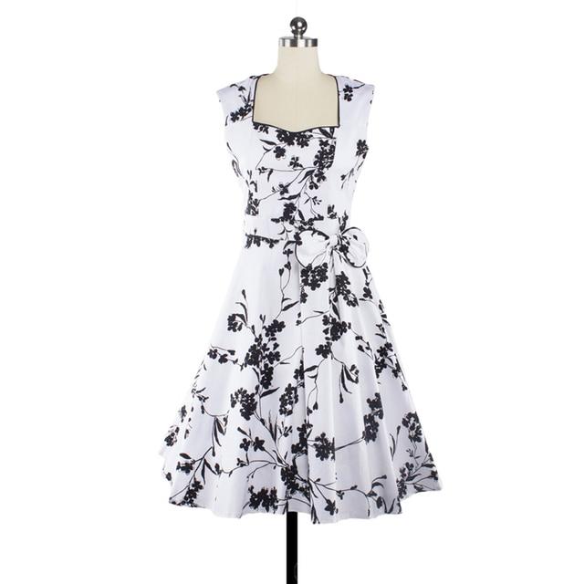 LERFEY Vestidos Summer Women Dress Sleeveless Vintage Retro Party Robe Rockabilly Floral Print Pleated Bow Dresses New Clothing