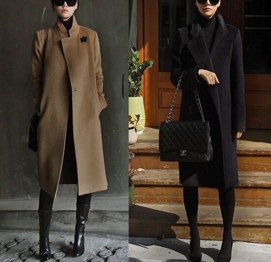 Women Cashmere Coat Spring Autumn Coats Long Fashion Elegant Wool Trench  Coat Camel Brown Black Overcoat Wool Coats a2494a1ba