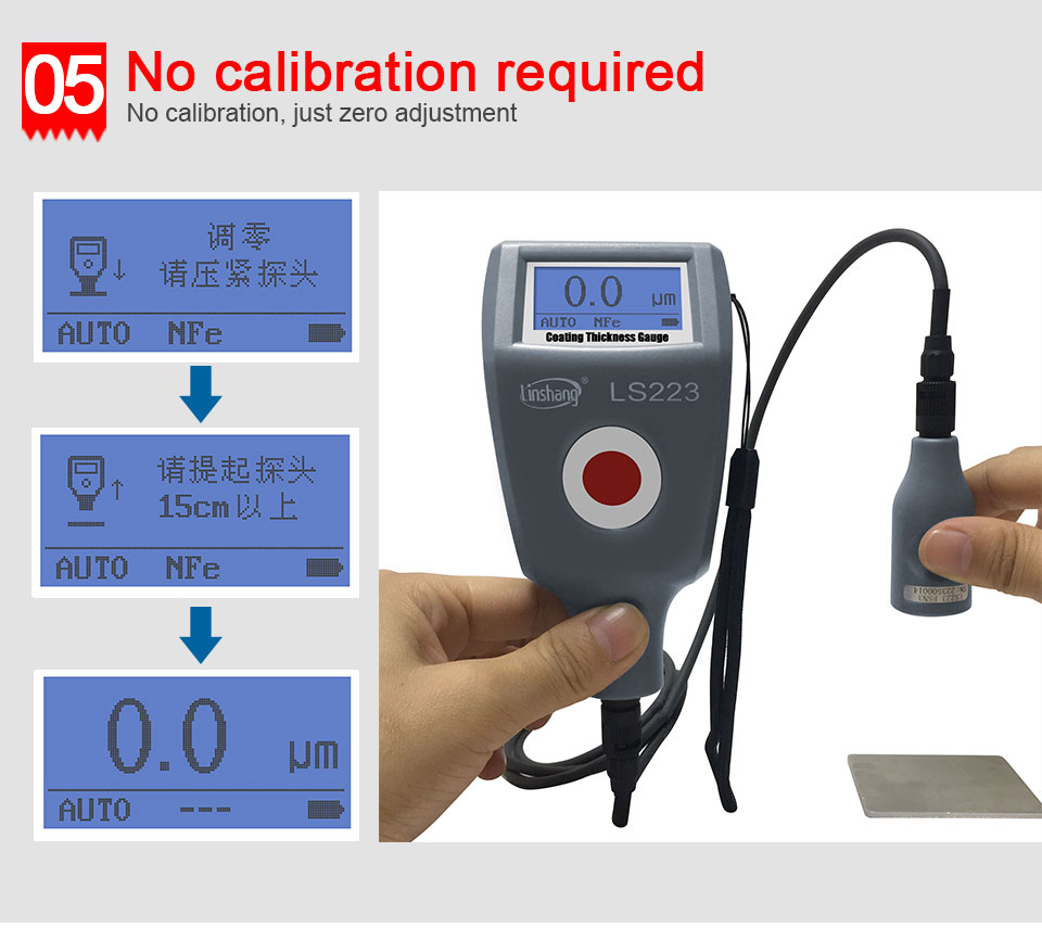 cabo de sonda para não-magnético e não-condutora revestimentos 0-5000um LS223