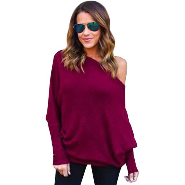 Осенняя мода тонкий футболку с плеча футболки с длинным рукавом твердые футболка для женщин Сексуальные Топы Женщин Clothing LJ5666M
