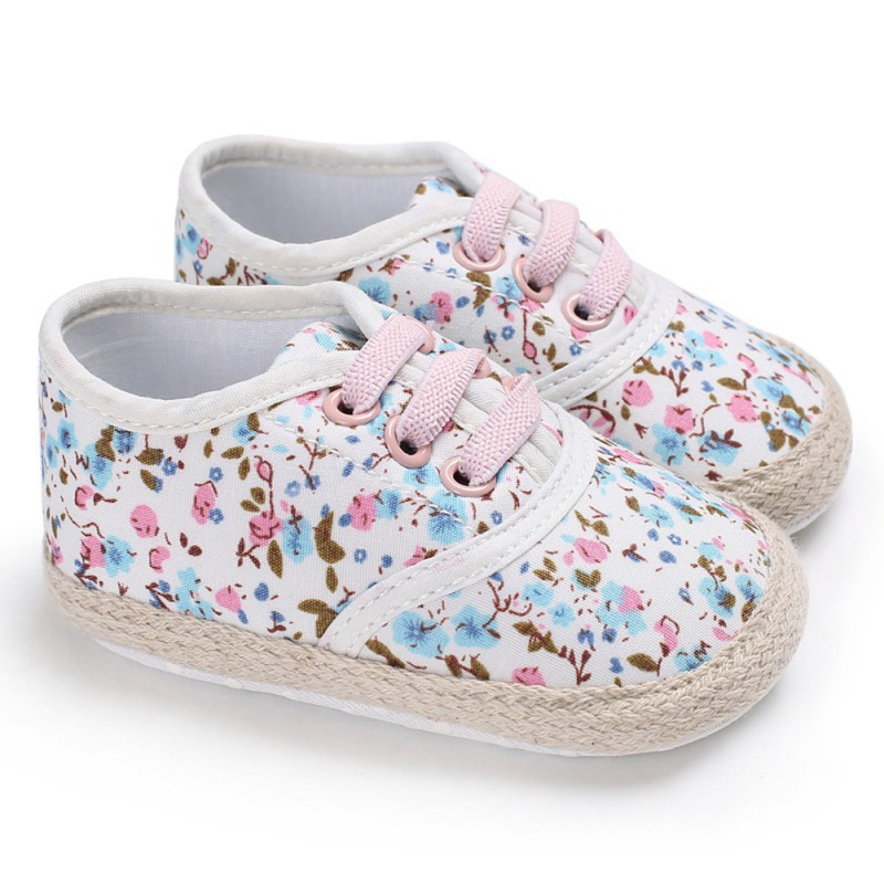 Newborn Baby Girl Floral Shoes Breathable Print Anti Slip Shoes Canvas Sneakers Toddler Soft Soled First Walkers 0 18M