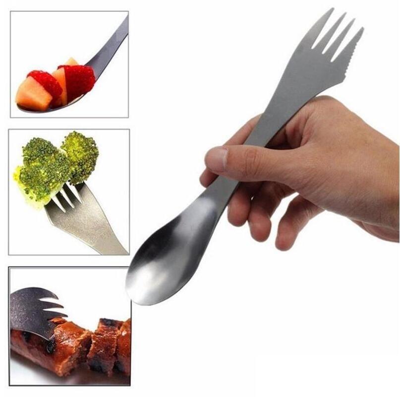 شوكة ملعقة يرمى 3 في 1 أدوات المائدة الفولاذ المقاوم للصدأ والسكاكين إناء كومبو المطبخ في الهواء الطلق نزهة سكوب/سكين/شوكة مجموعة السفينة حرة-في شوك من المنزل والحديقة على  مجموعة 1