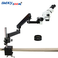 Lucky Zoom 7X 90X Binocular Articulating Arm Pillar Stand Stereo Zoom Microscope SZM2.0X Lens Trinocular Microscope Accessories