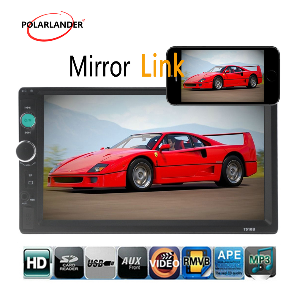 7 inch Universal 2 Din HD Bluetooth USB TF FM Aux input Mirror Link Car Radio