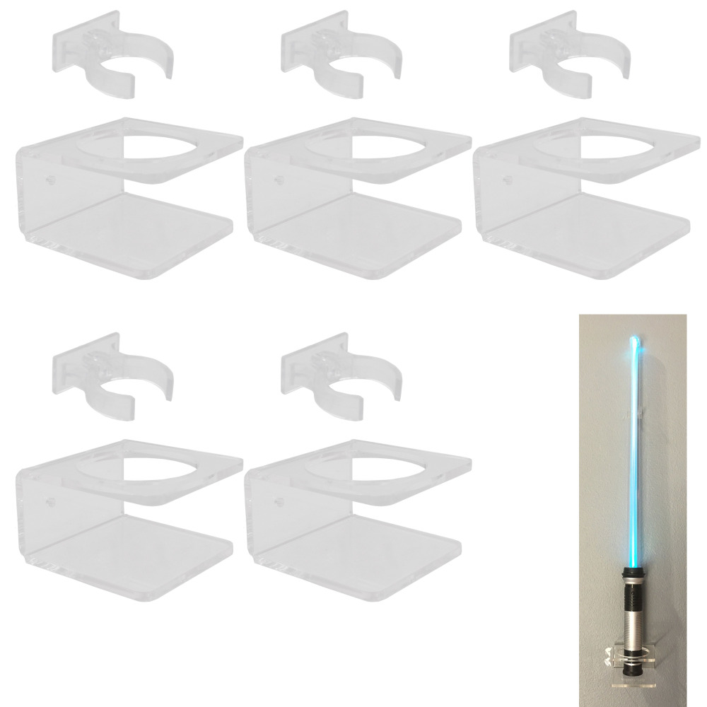 Clear Wall Mount Wall Stand For Light Saber FX Saber Light Up Sword - No Swaying -5/PK - No Lightsaber