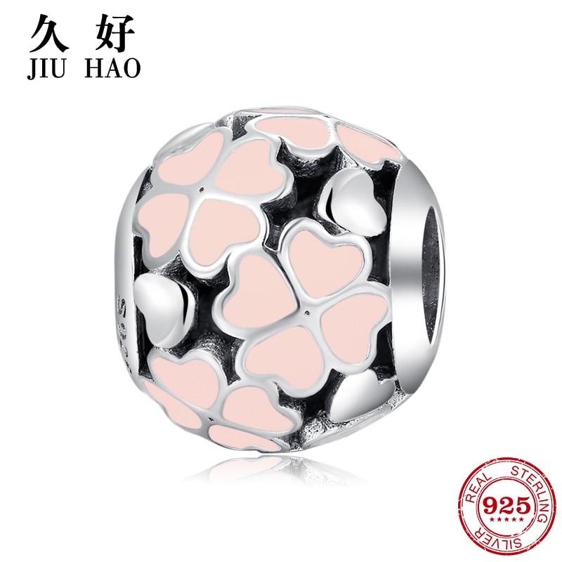 925 Sterling Silver Four Leaf Clover Enamel Beads Womens