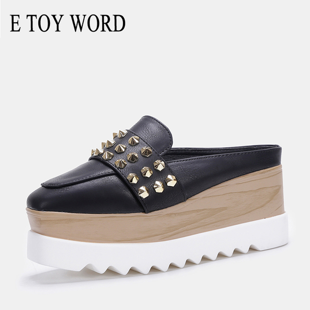 E TOY WORD 2019 Spring Summer platform slippers ladies outdoor fashion rivet flip flop No heel Wedges Half slipper women shoes