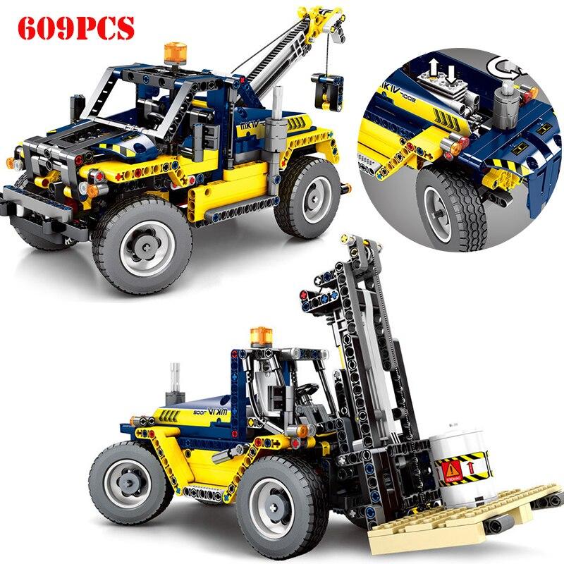 609 pièces Cité Génie Véhicules 2 En 1 Chariot Élévateur Blocs De Construction Compatibles Legoing Technic Camion Grue Briques Jouets Pour Enfants