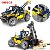 609pcs City Engineering Vehicles 2 In 1 Forklift Building Blocks Compatible Legoing Technic Truck Crane Bricks Toys For Children