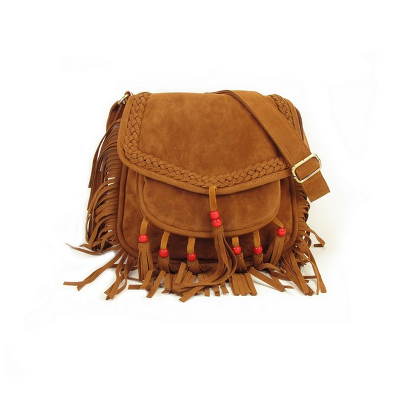 2017 Women Fringe Shoudler Bag Faux Suede Beaded Boho Chic Hippie Gypsy Music Bohemian Fringe Brown Crossbody Bag 2016 women vintage shoulder bag retro patchwork hippie gypsy boho tribal front pockets small mini crossbody hipster storage bag