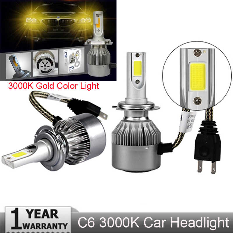 Muxall  Gold H4 H7 H1 COB LED Headlight Bulbs H11 H13 12V 9005 9006 H3 72W 8000LM Car LED lamp Fog Light 3000K Gold color light