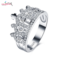 COLORFISH Micro Pave Zircon 925 Sterling Silver Crown Ring For Women Cross Fashion Jewelry Wedding Engagement