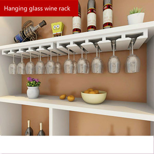 Household Grape Wine Rack Upside Down Hanging Cup Holders Solid Wood Goblet Wine Shelf Bar Hanging Glass Rack For Wine Cabinet(China)