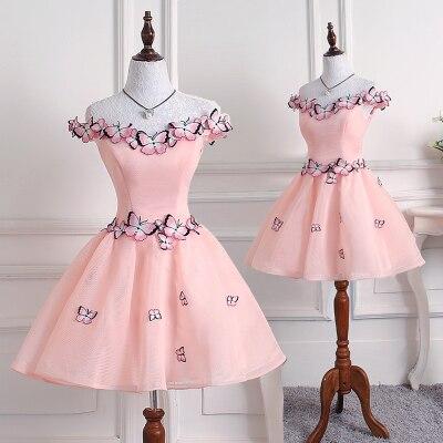 Free ship pink/light purple butterfly embroidery short lolita dress