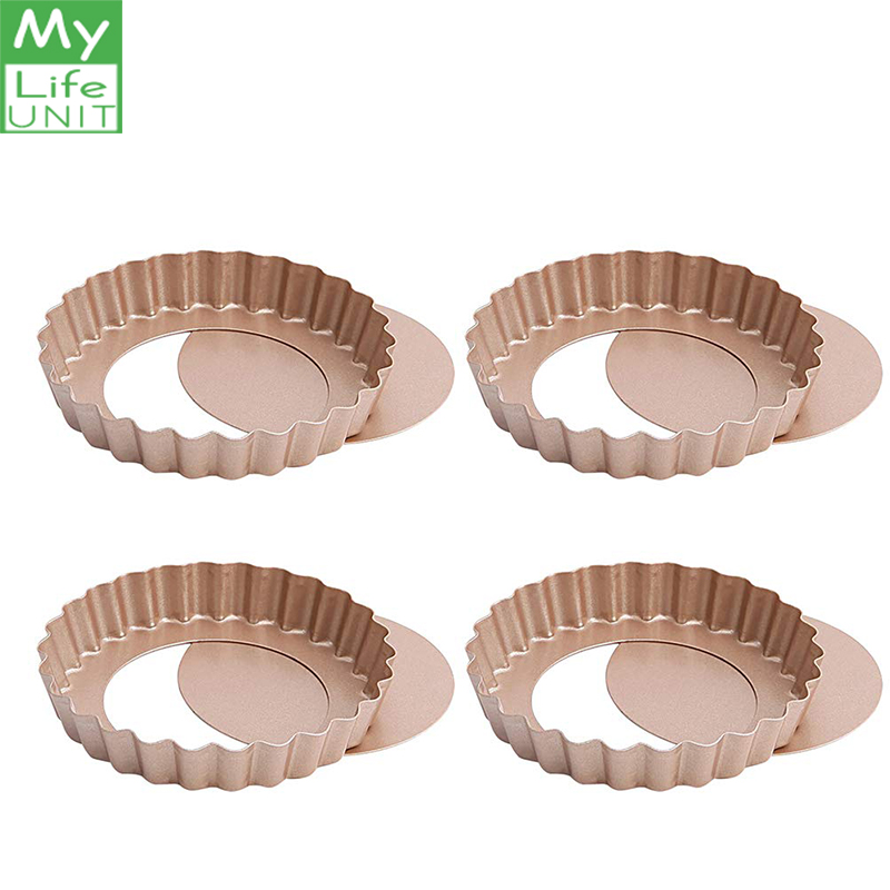 MyLifeUNIT Mini Tart Pans Nonstick 4 Inch Loose Bottom Round Tart Quiche Pan Mold Baking Tools for Cakes