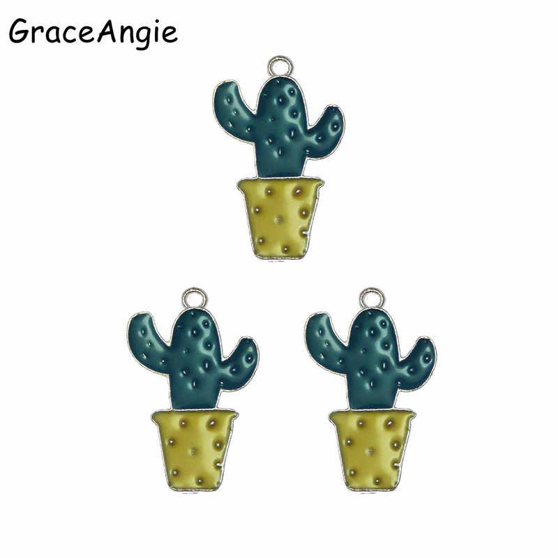 Cute 10Pcs Green Small Enamel Cactus Charms Pendants Flower Jewelry Findings Handmade Craft DIY Earrings Necklace Bracelet Dec