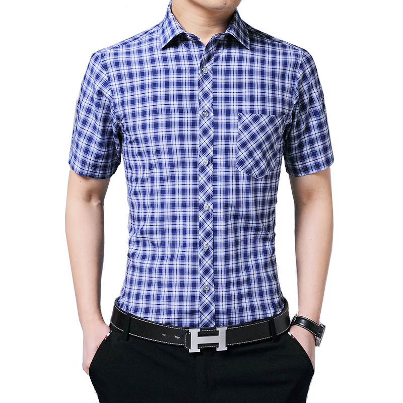 Short Sleeve Solid Color Men's Business Plaid Print 100% Cotton Slim Plus Size Summer New Asian Size M-5xl Free Shipping