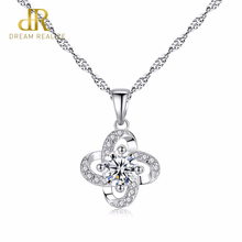 цена DR Office Lady Miss Genuine 925 Sterling Silver Chain Necklace Birthday Party Flower Silver Pendant Necklace Fine Jewelry онлайн в 2017 году