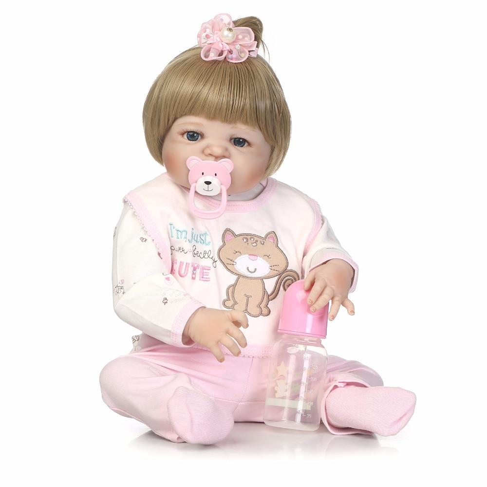 NPK 55cm full body Silicone reborn Baby Doll Girl Newbron Lifelike Baby-Reborn Princess Doll Christmas Gift for girl pink
