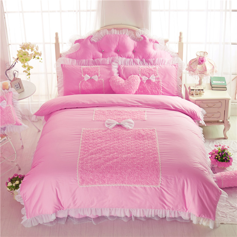 Perfume Rose Design Bedding Set Cotton Lace Fabric 4 7pcs