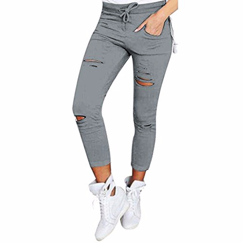 New 2018 Skinny Jeans Women Denim Pants Holes Destroyed