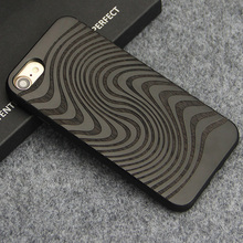 Luxury Case for iPhone 7 8 Plus Carving Clouds Totem Wood Cover Natural Bamboo Wooden TPU Phone Cases for iPhone X Coque Fundas