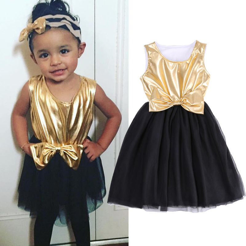 4966d28c76e03 2016 New Summer dress 2-7Years kids clothes Sleeveless Baby Girl Dress Gold  Bow Gown Princess Tutu Dresses Sundress
