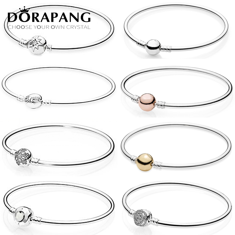 DORAPANG 925 Sterling Silver classic bracelet Rose gold Clear CZ Charm Bead fit DIY snow Bracelets Jewelry factory wholesale 925 sterling silver sea turtle charm beads fit bracelets original animal turtle clear cz bead diy jewelry pas147