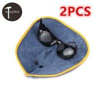 1Pcs Cow Leather Welding Mask Black Glasses Filter Lens Helmet Comfortable Hood Helmet Eyes Mask Welder