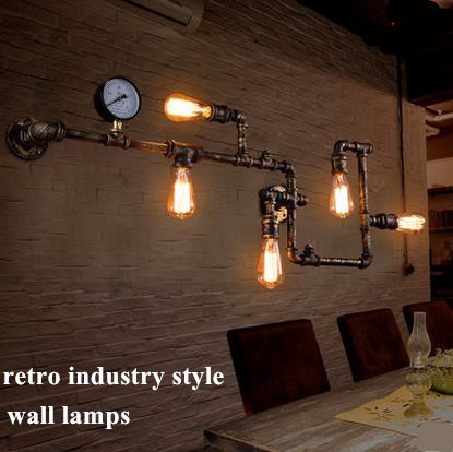 buy dhl 5 lights loft american vintage aisle water pipe tube wall lamp bar. Black Bedroom Furniture Sets. Home Design Ideas