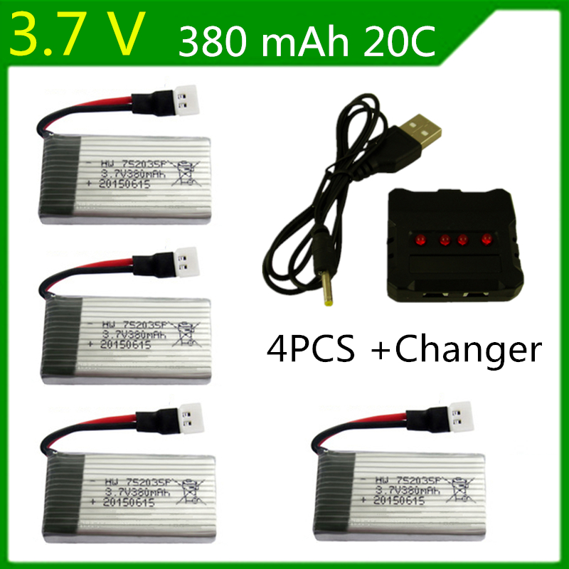 4pcs Upgraded 25c 3.7v 380mah Lipo Battery for Syma X11 X11c Hubsan X4 H107c H107d H107l Rc Quadcopter lipo 752035 lipo battery rechargeable 3 7 v 250mah 25c li po battery for syma x4 x11 hubsan rc quadcopter drone wltoys v966 v988 free shipping sale