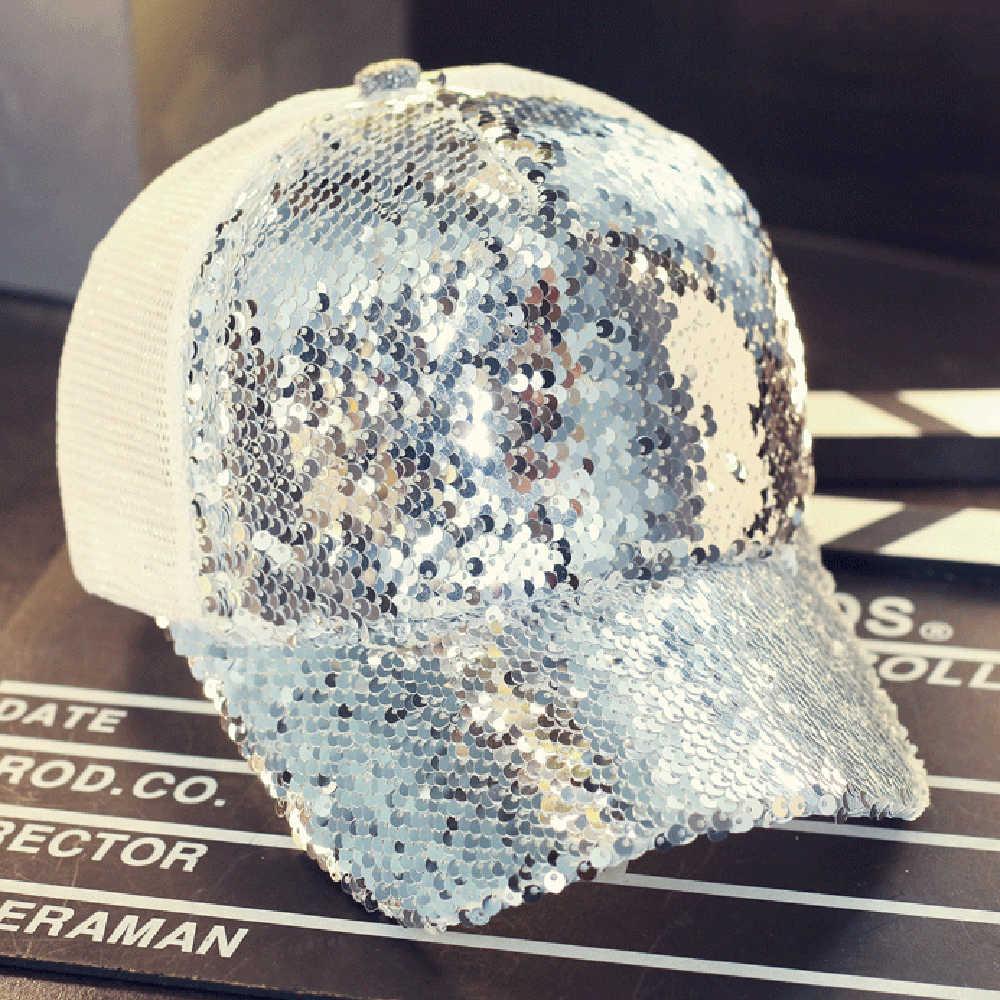 002b5e0d470 2018 All-match Reflective Sequins Net Baseball Caps Women Sunscreen Hats  Spring Cap Snapback Summer
