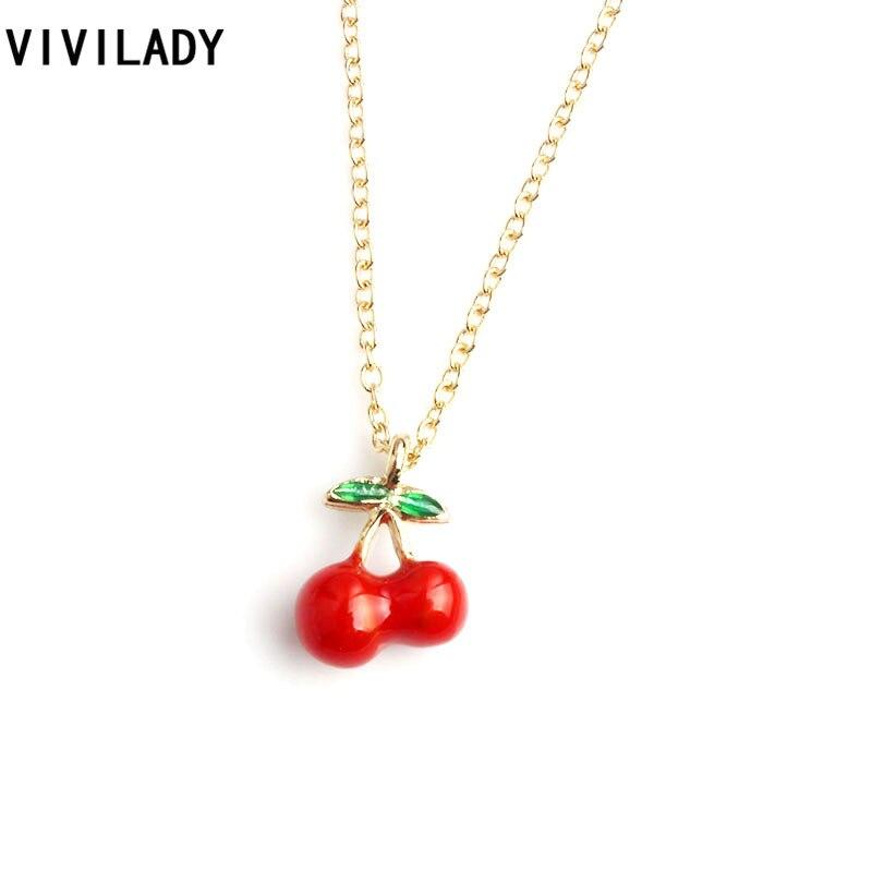 Buy VIVILADY Fashion Tiny Apple Strawberry Cherry Pineapple Pendant Necklaces